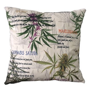MJFI 24-inch Cannabis Bliss Beige, Green and Purple Marijuana Botanical Print Microfiber Throw Pillow