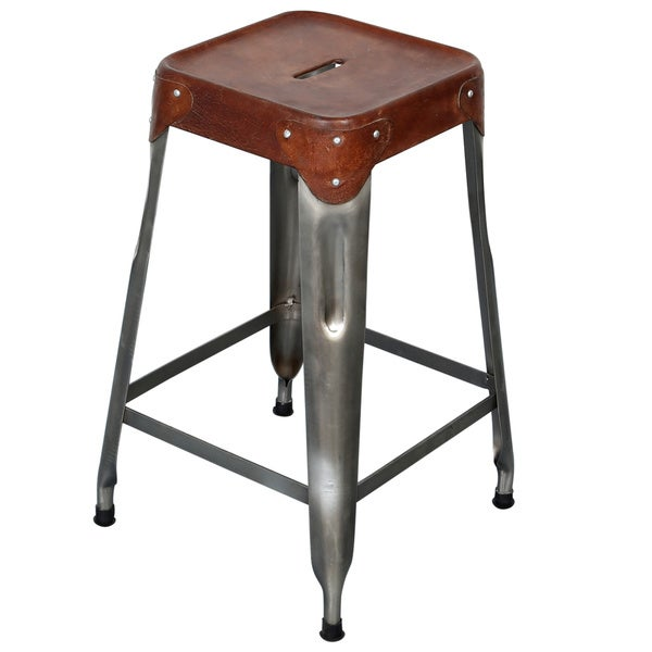 Handmade Wanderloot Florian Industrial Metal and Leather 24-inch Counter Height Bar Stool (India)