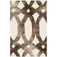 Safavieh Handmade Dip Dye Watercolor Vintage Ivory/ Chocolate Wool Rug - 2' X 3'
