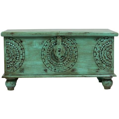 "Handmade Wanderloot Leela Green Medallion Coffee Table Trunk (India) - 18""H x 18""W x 35""L"