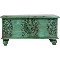 Handmade Wanderloot Leela Green Medallion Coffee Table Trunk (India)