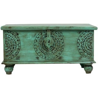 Wanderloot Leela Green Handmade Medallion Coffee Table Trunk (India)