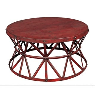 Wanderloot Truss Red Distressed Industrial Metal Coffee Table (India)