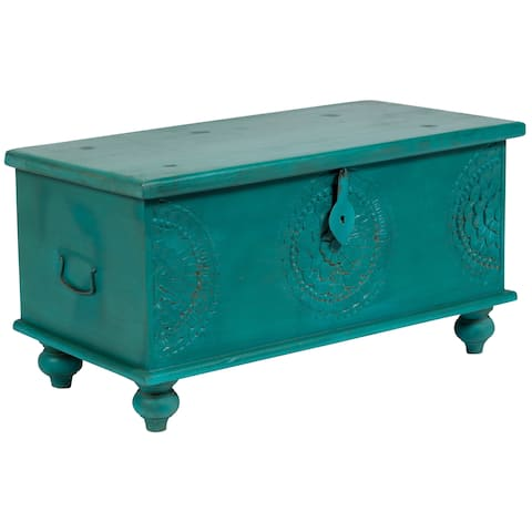 "Handmade Leela Teal Blue Medallion Coffee Table Trunk - 18"" x 18"" x 35"" (India)"