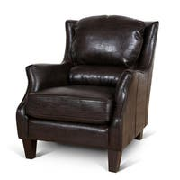 Porter Garnett Espresso Bonded Leather Accent Chair