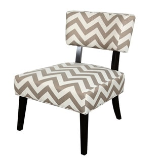 Porter Eastlake Taupe and White Woven Chevron Accent Chair