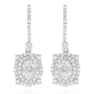 Luxurman 14k Gold 1 5/8ct TDW Designer Diamond Drop Earrings (G-H, VS1-VS2)