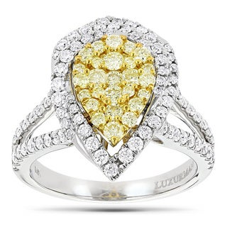 Luxurman 14k Gold 1 1/2ct TDW White and Yellow Diamond Pear-shape Cluster Ring