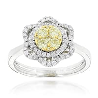 Luxurman 14k Gold 3/4ct TDW White and Yellow Diamond Flower Ring