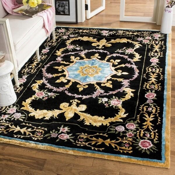 Safavieh Handmade Savonnerie Black/ Multi Wool Rug (9' x 12')