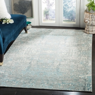 Safavieh Mystique Watercolor Teal/ Multi Silky Rug (9' x 12')