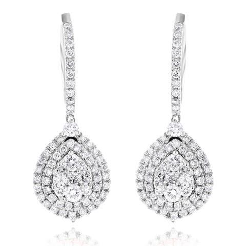 Luxurman 14k White or Yellow Gold 1 1/2ct TDW Diamond Pear-shaped Drop Earrings