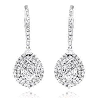 Luxurman 14k White or Yellow Gold 1 1/2ct TDW Diamond Pear-shaped Drop Earrings (G-H, VS1-VS2)