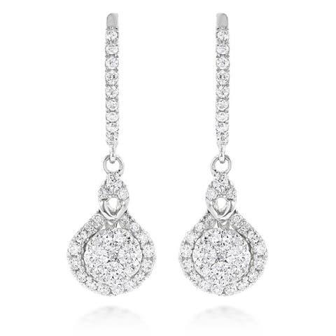 Luxurman 14k White or Yellow Gold 1 1/10ct TDW Diamond Drop Shape Clusters Earrings