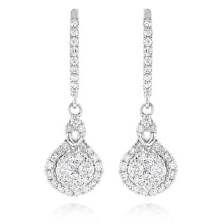 Luxurman 14k White or Yellow Gold 1 1/10ct TDW Diamond Drop Shape Clusters Earrings (G-H, VS1-VS2)