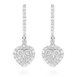 Luxurman 14k Gold 1ct TDW Drop Diamond Heart Hoop Dangle Earrings (G-H, VS1-VS2)