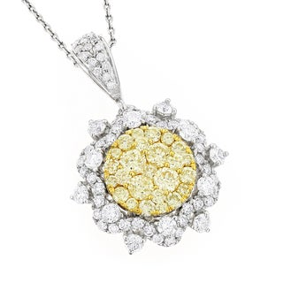 Luxurman 14k Gold 2 1/3ct TDW White and Yellow Diamond Flower Pendant