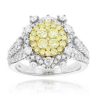 Luxurman 14k Gold 2ct TDW Designer White and Yellow Diamond Flower Ring