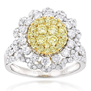 Luxurman 14k Gold 2ct TDW White and Yellow Diamond Flower Ring