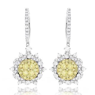 Luxurman 14k Gold 2 3/4ct TDW White and Yellow Diamond Flower Drop Earrings