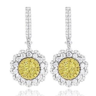 Luxurman 14k Gold 3ct TDW White and Yellow Diamond Flower Earrings