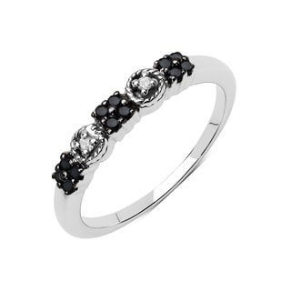 Olivia Leone .925 Sterling Silver 0.15 Carat Black Diamond & White Diamond Ring