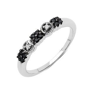 Olivia Leone .925 Sterling Silver 0.15 Carat Black Diamond & White Diamond Ring