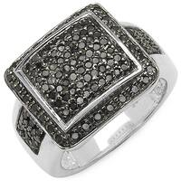 Malaika .925 Sterling Silver 0.60 Carat Genuine Black Diamond Ring