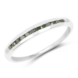 Malaika .925 Sterling Silver 0.18 Carat Genuine Green Diamond Ring