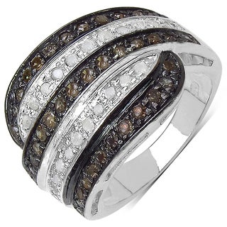 Malaika .925 Sterling Silver 0.76 Carat Brown Diamond & White Diamond Ring