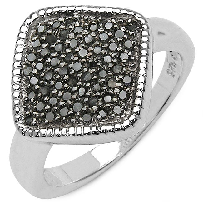 Malaika .925 Sterling Silver 0.24 Carat Genuine Black Dia...