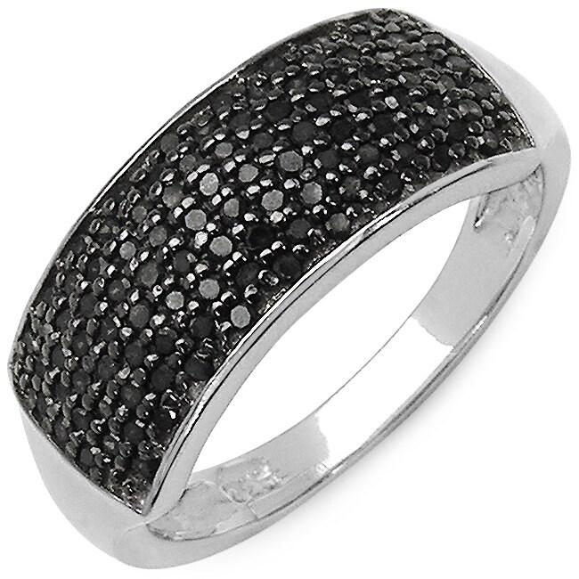 Malaika .925 Sterling Silver 0.43 Carat Genuine Black Dia...