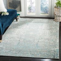Safavieh Mystique Watercolor Teal/ Multi Silky Rug - 4' x 6'
