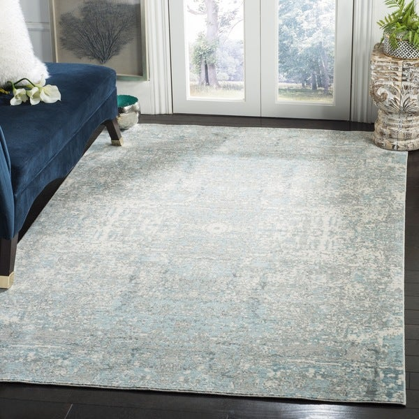 Safavieh Mystique Watercolor Teal/ Multi Silky Rug (4' x 6')