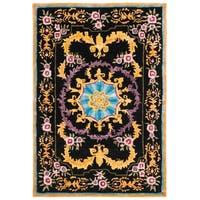 Safavieh Handmade Savonnerie Black/ Multi Wool Rug - 4' x 6'
