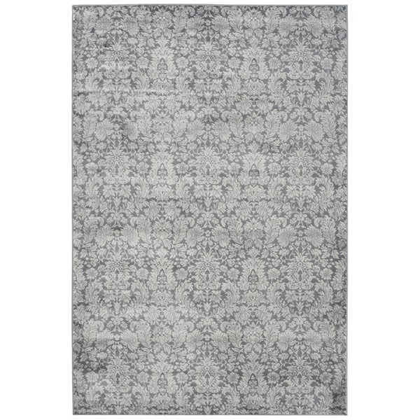 Safavieh Vintage Damask Dark Grey/ Light Grey Distressed Rug (4' x 5'7)