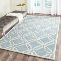 Safavieh Hand-Tufted Chatham Blue/ Ivory Wool Rug (5' x 8')