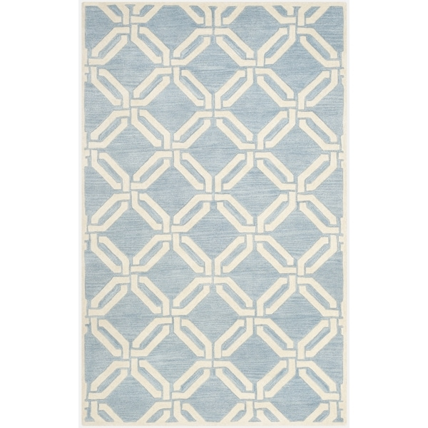 Safavieh Hand-Tufted Chatham Blue/ Ivory Wool Rug (5' x 8')