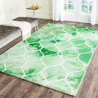 Safavieh Handmade Dip Dye Watercolor Vintage Green/ Ivory Wool Rug - 5' x 8'