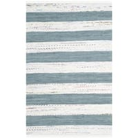 Safavieh Hand-Woven Montauk Ivory/ Charcoal Cotton Rug - 8' x 10'