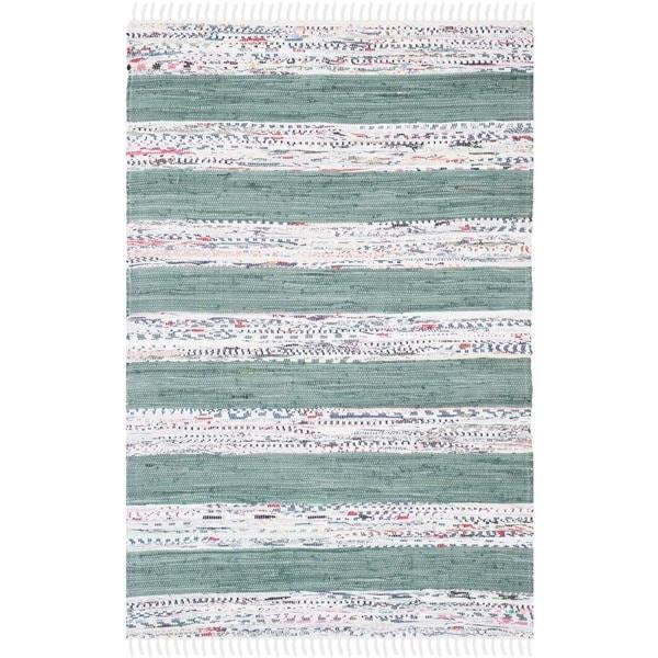 Safavieh Hand-Woven Montauk Ivory/ Charcoal Cotton Rug - 8' x 10'