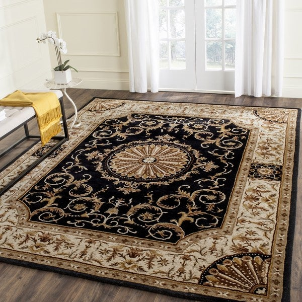 Safavieh Hand-Tufted Empire Black/ Ivory Wool Rug - 7'6 x 9'6