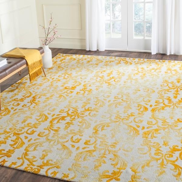 Safavieh Hand-Tufted Dip Dye Ivory/ Gold Wool Rug - 8' x 10'
