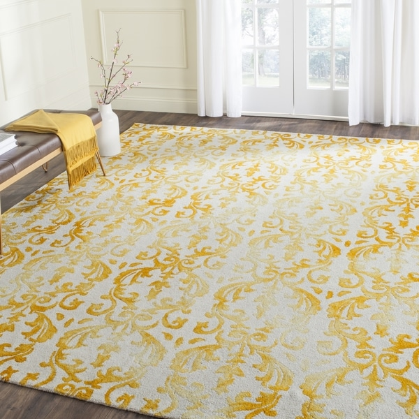 Safavieh Hand-Tufted Dip Dye Ivory/ Gold Wool Rug (8' x 10')