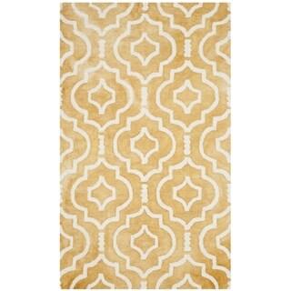 Safavieh Handmade Dip Dye Watercolor Vintage Gold/ Ivory Wool Rug (3' x 5')