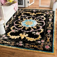 Safavieh Handmade Savonnerie Black/ Multi Wool Rug - 6' x 9'