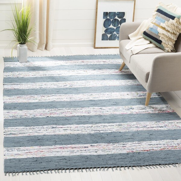 Safavieh Montauk Hand-Woven Flatweave White/ Grey Stripe Cotton Rug - 5' x 7'