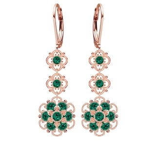 Lucia Costin Sterling Silver Green Crystal Earrings