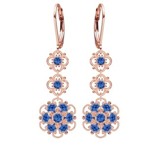 Lucia Costin Silver, Blue Austrian Crystal Earrings