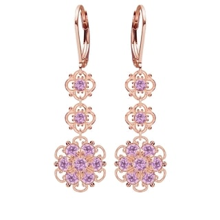 Lucia Costin Sterling Silver/ Lilac Crystal Earrings